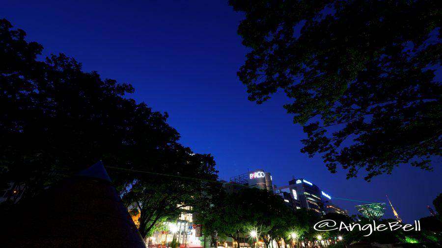 久屋大通公園 光の広場(レーザー)と名古屋テレビ塔