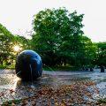 名城公園 彫刻の庭 水の広場の夕景