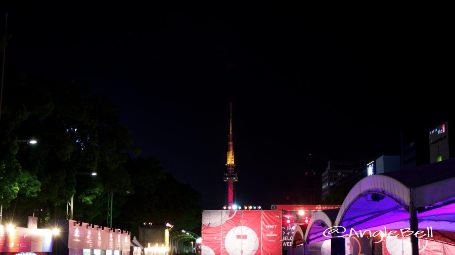 ベルギービールウィークエンド2017 会場から見た 名古屋テレビ塔 レッドライティング
