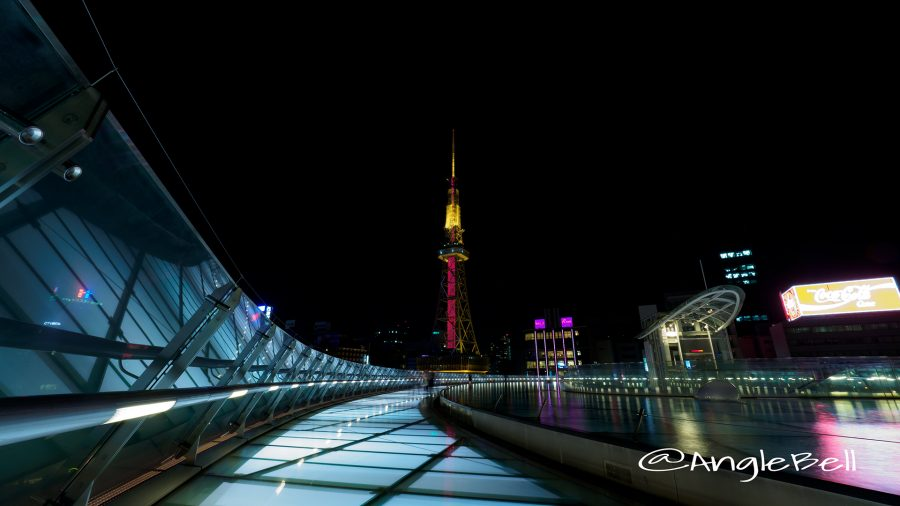 水の宇宙船から見る名古屋テレビ塔 「レッドライティング」2017世界赤十字デー2017