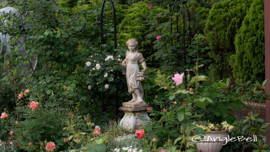 名城公園フラワープラザ 少女像とバラ