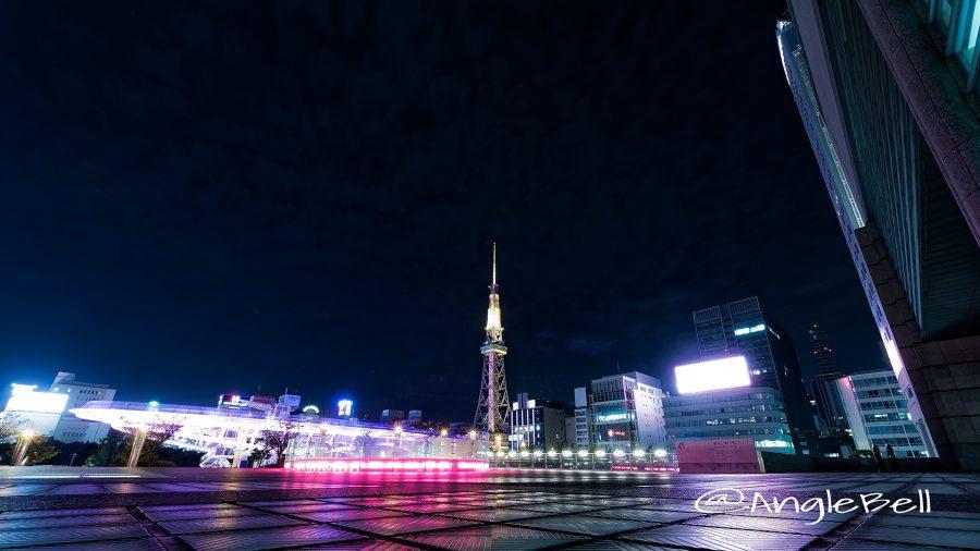 愛知芸術文化センターから見るオアシス21 名古屋テレビ塔 ピンクライトアップ