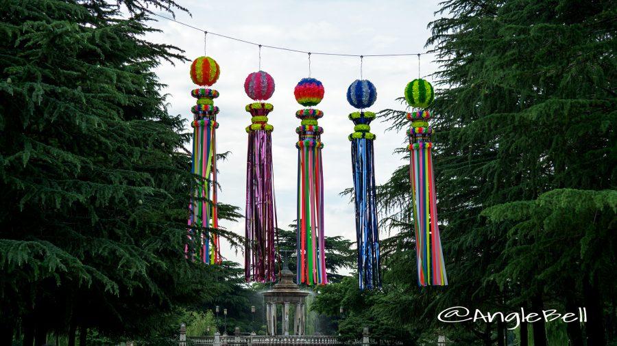 鶴舞公園 七夕吹き流しと噴水塔