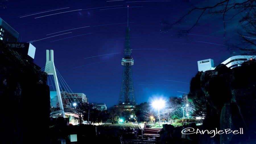 星の流れと名古屋テレビ塔 Dec 14, 2016