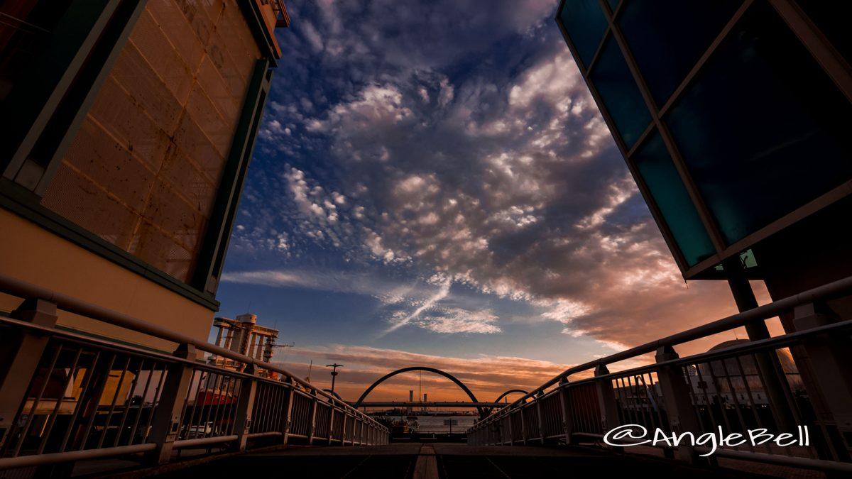名古屋港 ポートブリッジと夕日