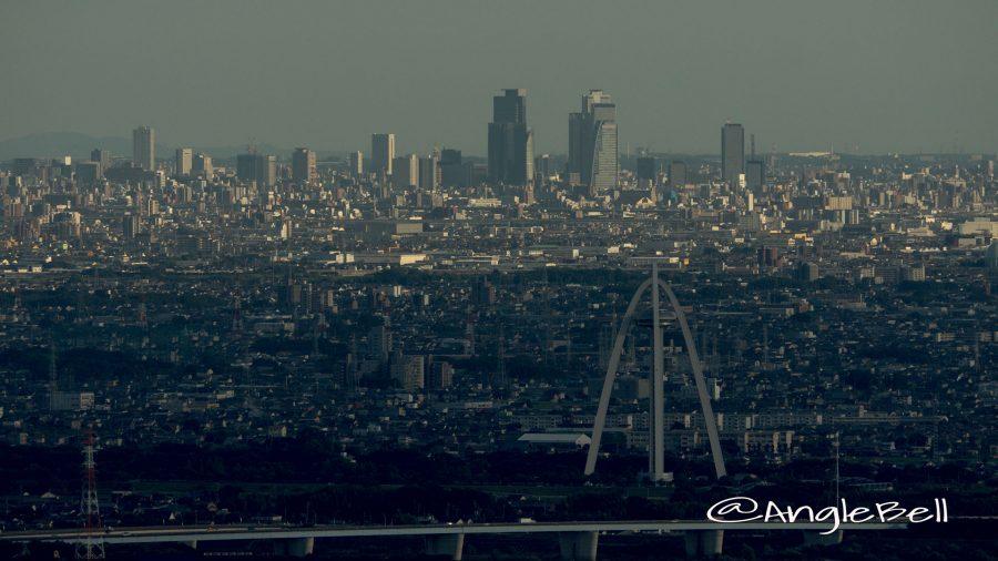 金華山から見るツインアーチ138と名古屋駅