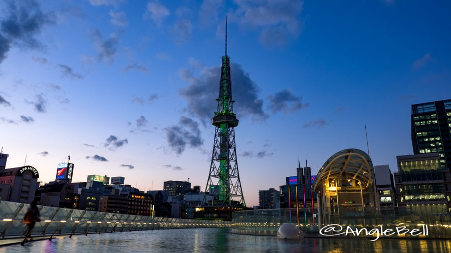 夕暮れ 水の宇宙船と名古屋テレビ塔 グリーンライティング