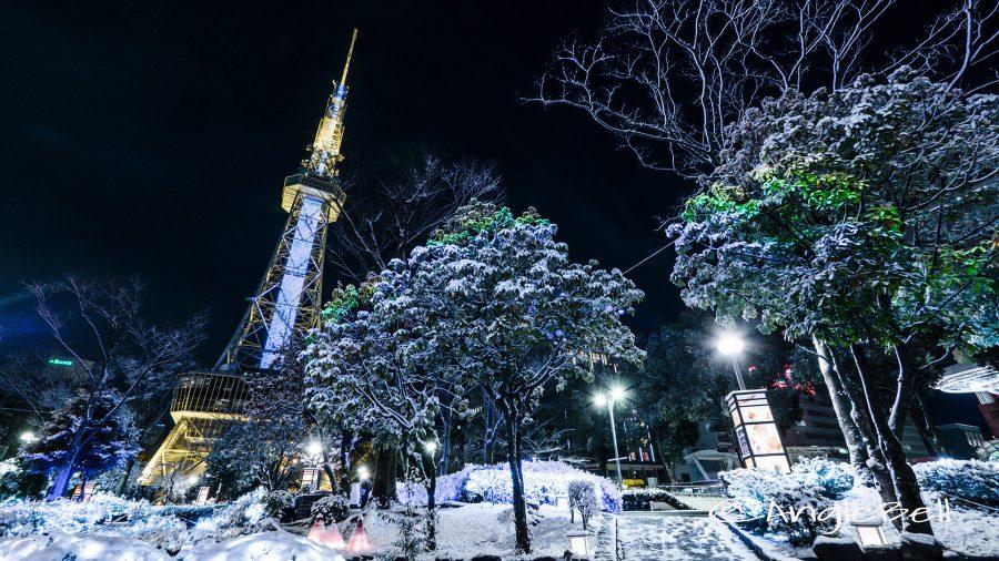 名古屋テレビ塔 さかえ川周辺と雪