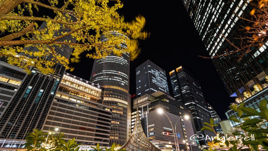 名古屋駅桜通口前 ロータリー 「飛翔」と桜通口のビル群 2019