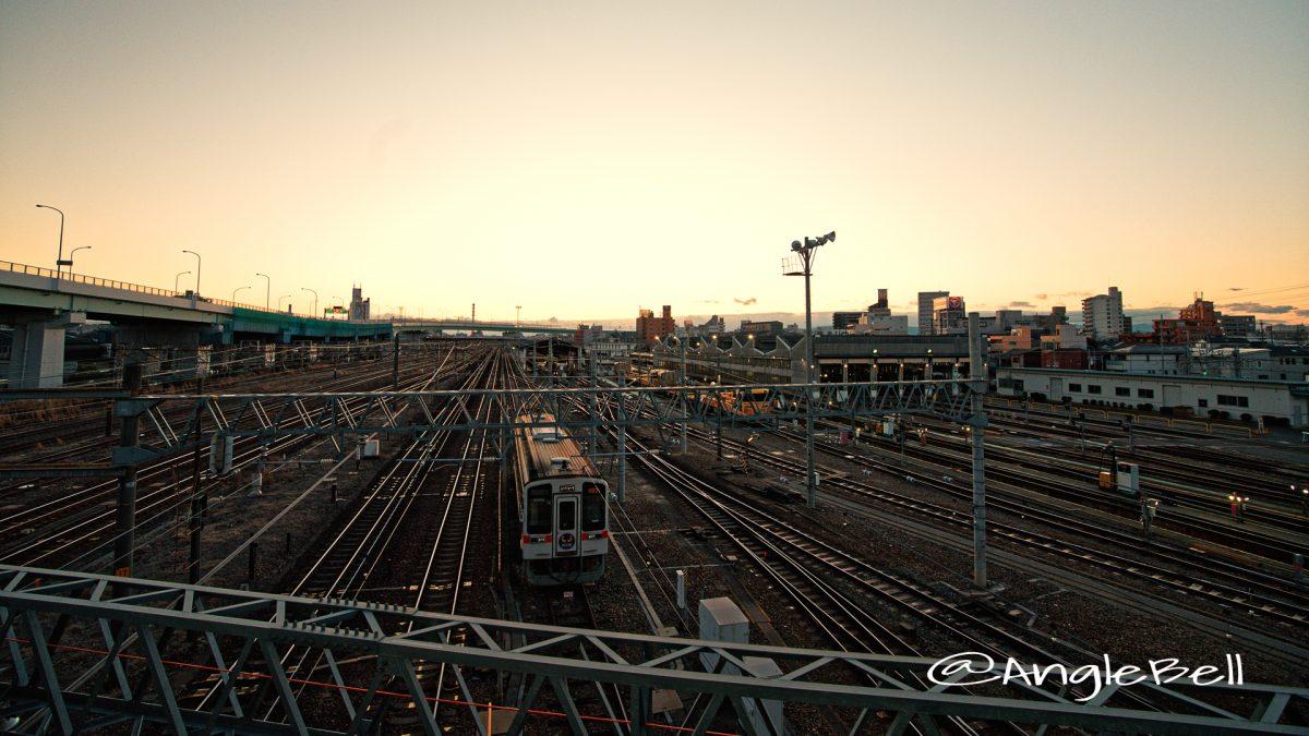 向野橋の上から見る名古屋車両区 夕景 February 2020