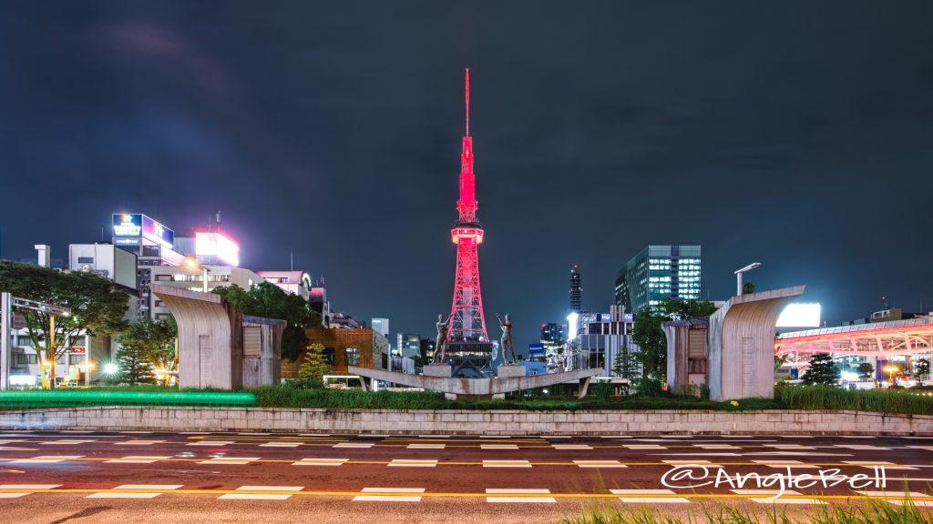 名古屋テレビ塔 (レッドライトアップ)と双身像 August 2020