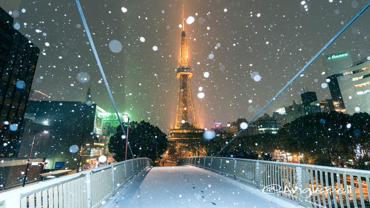 雪景 セントラルブリッジから見る名古屋テレビ塔 2018