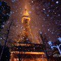 雪景 北側 ガス燈と名古屋テレビ塔