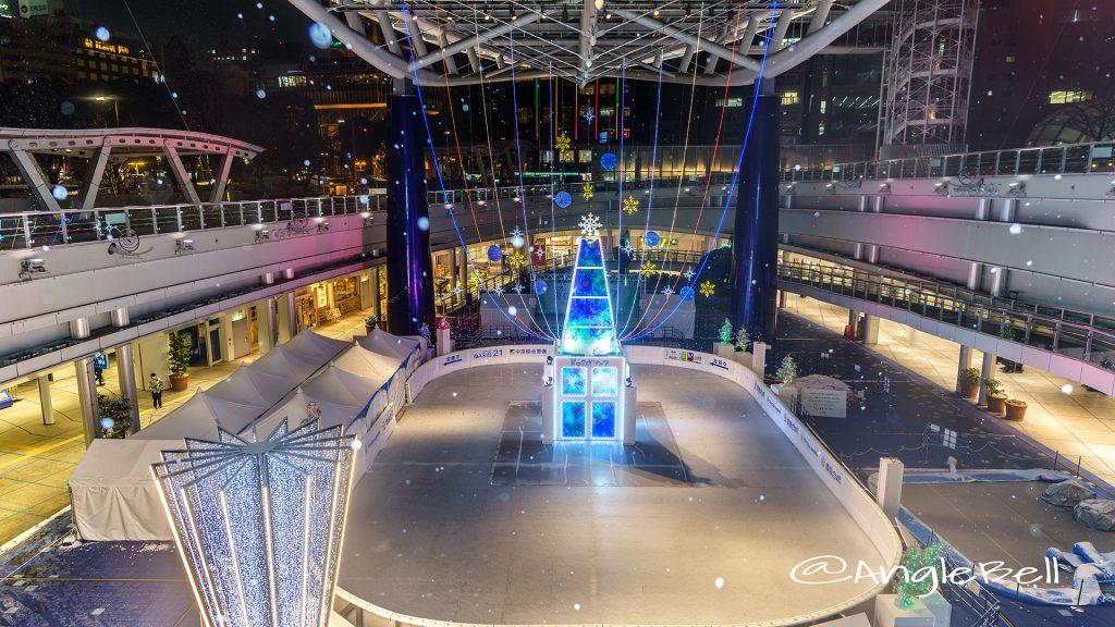 オアシス21銀河の広場「豊田合成リンク」2017装飾と雪