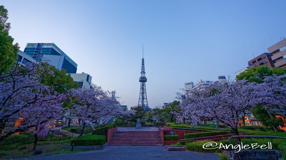 早朝 いこいの広場から見た名古屋テレビ塔と白頭鷲の像  March 2018