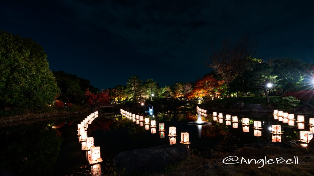 白鳥庭園 紅葉ライトアップ 2018 浮き灯篭づくり